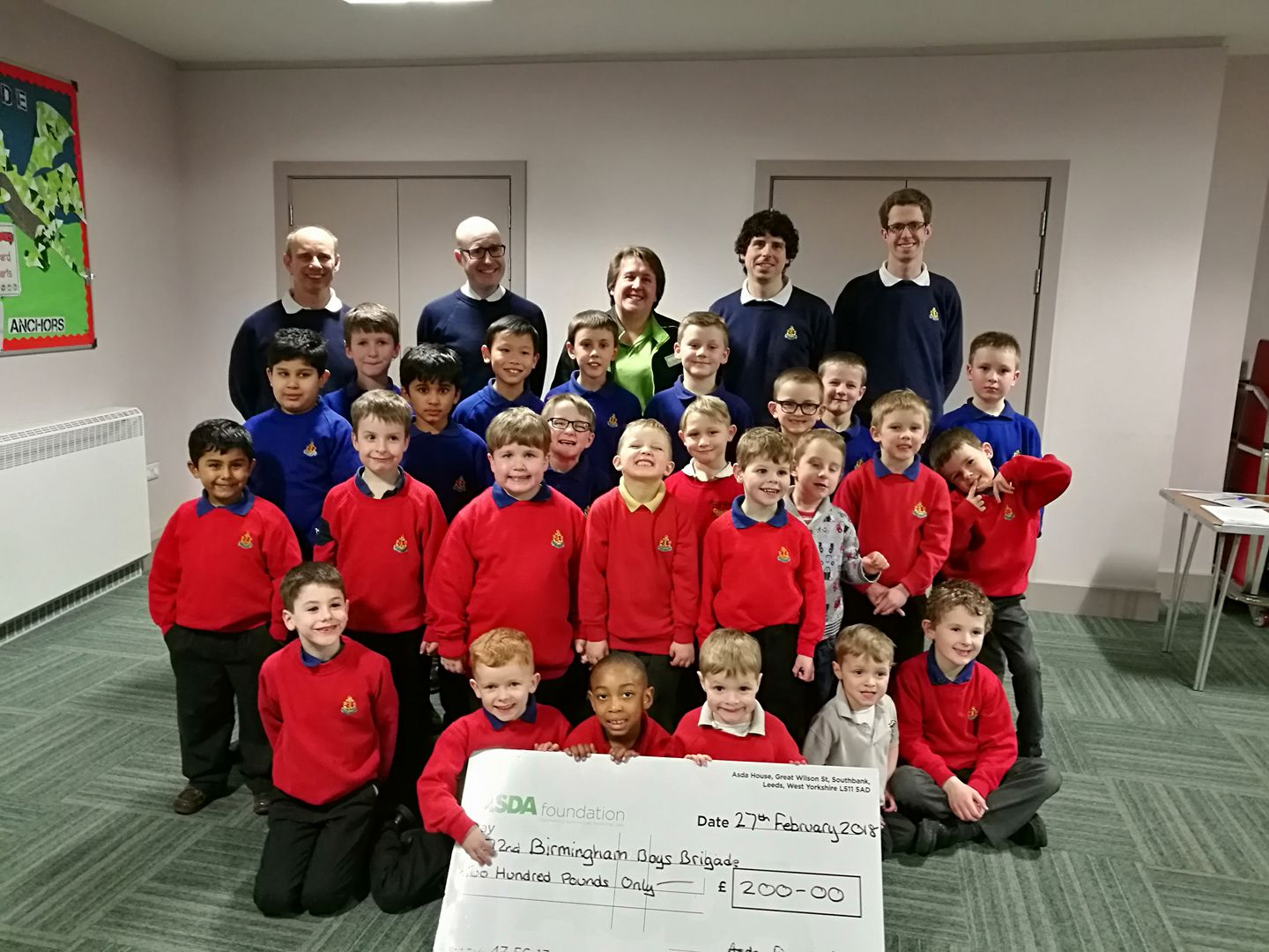 Anchor and Junior Boys with cheque